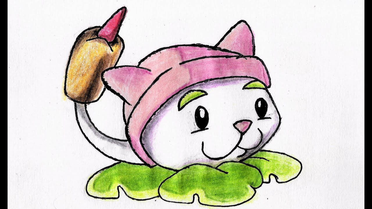 Como Dibujar Gato Cattail Plants Vs Zombies How To