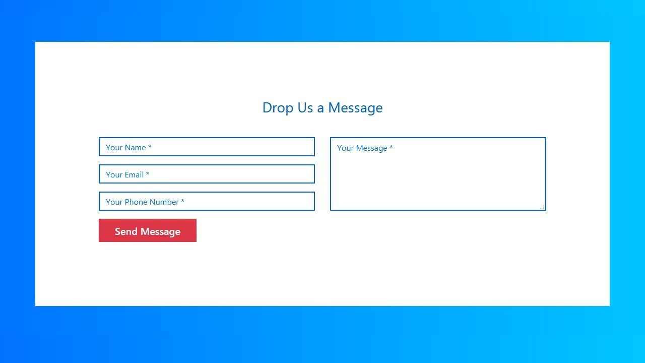 How To Create Responsive Contact Us Form Using Html And