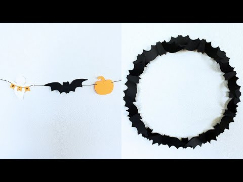 DIY Halloween Garland and Bat Wreath