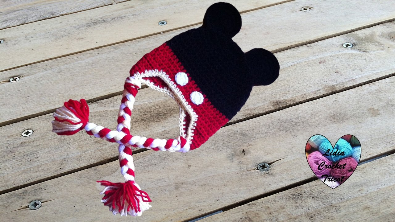 Bonnet Mickey Mouse crochet facile  Mickey Mouse beanie crochet (english  subtitles) - YouTube 9508e6c7eb3
