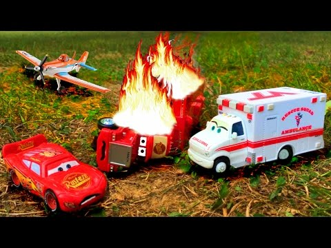 Thumbnail: Disney Pixar Cars Lightning McQueen Saves Red Mack Hauler Giant Crash Starts Fire Disney Toy Story