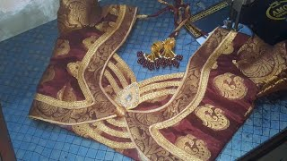 designer banarasi saree blouse design patchwork design easy to ...
