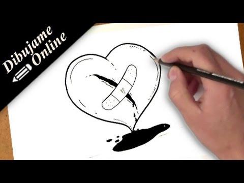 como dibujar un corazon herido | como dibujar un corazon herido paso ...
