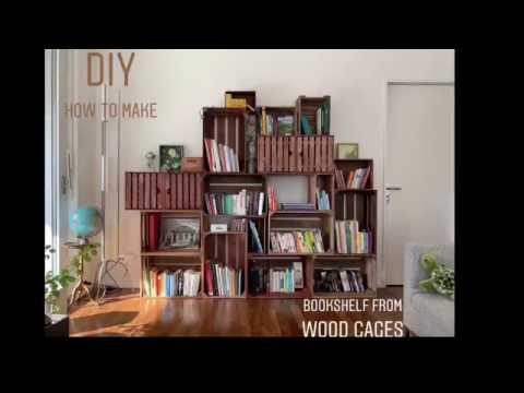 DIY Making BOOKSHELF from WOOD CAGES: Easy, Fast & Safe!