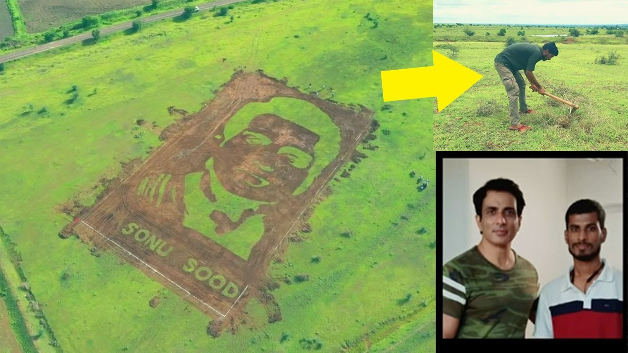 This is SPECTACULAR 😍 Farmer Vipul Create this massive 50000 sq.ft portrait Of Sonu Sood in Grass
