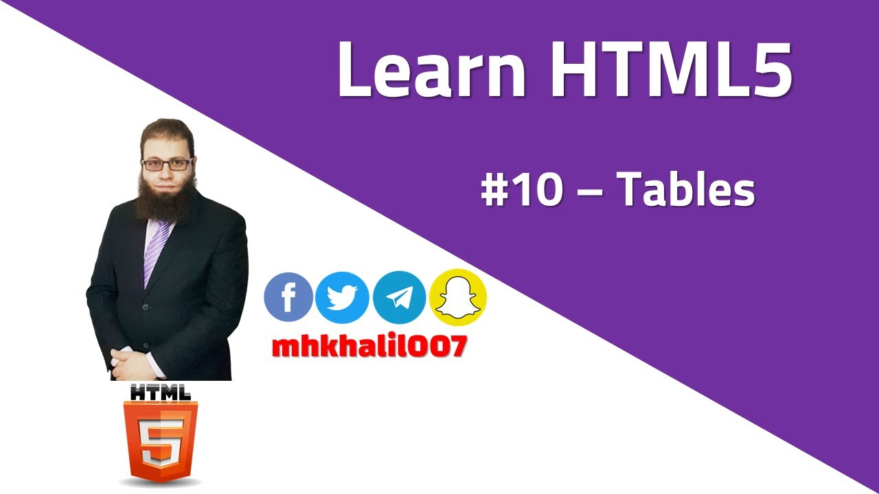 Learn HTML5  #10 - Tables - YouTube