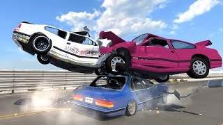 Beamng drive - Simultaneous Front and Back Collision car Crashes