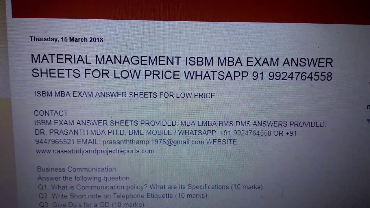 ISBM fast track MBA exam answer sheets whatsapp 91 9924764558