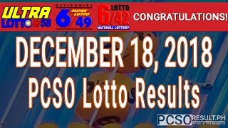 PCSO Lotto Results Today December 18, 2018 (6/58, 6/49, 6/42, 6D, Swertres, STL & EZ2)