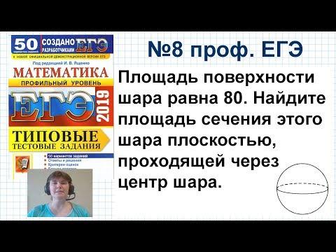 Задача 8 профильный ЕГЭ по математике. Площадь поверхности шара равна 80
