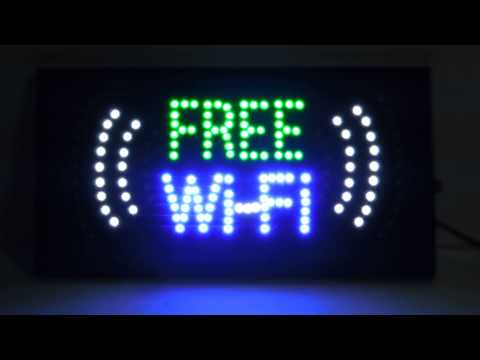 """Item No. CH-708 19""""X10""""X1"""" LED Free Wi-Fi Sign Everbright Trading"""