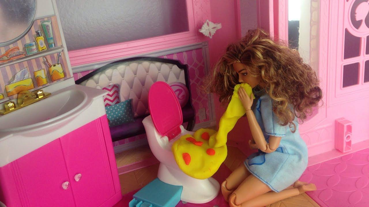 Barbie throws up - barbie is sick- Barbie pukes on ken - Barbie videos