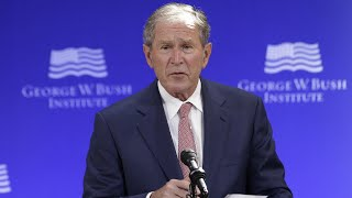 George W Bush: US politics 'vulnerable to outright fabrication' thumbnail