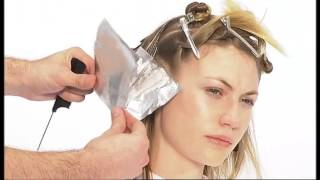 Мелирование цвет блонд по технологии Видал Сассуна