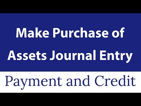 Journal Entry For Purchase Of Assets [ Payment And Credit]