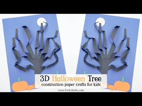 halloween construction paper 3d tree