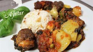 Frikadellen mit Spinat und Kartoffel Füllung im Ofen I Firinda ispanak dolgulu köfte