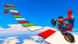 Spider-man ki Khatarnak Bike Stunt Race - Spiderman Motorcycle Parkour Challenge in GTA 5 screenshot 3