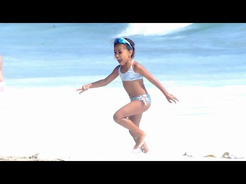 North West Has A BLAST On The Beach Without Mom And Dad