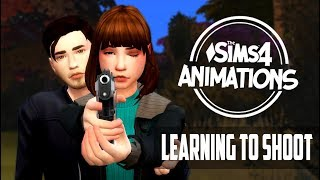 TS4 • ANIMATION • LEARNING TO SHOOT + KISS • УЧИТЬ СТРЕЛЯТЬ + ПОЦЕЛУЙ