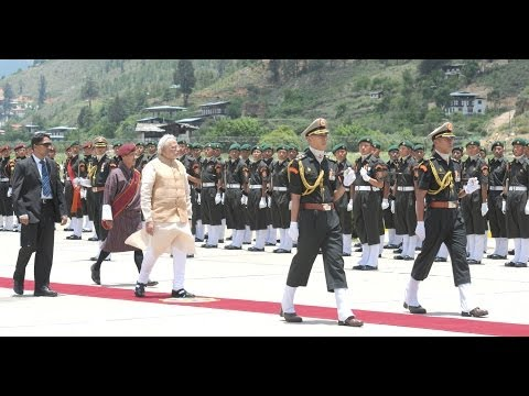 PM Narendra Modi inspects the Ceremonial Guard of Honour in Bhutan