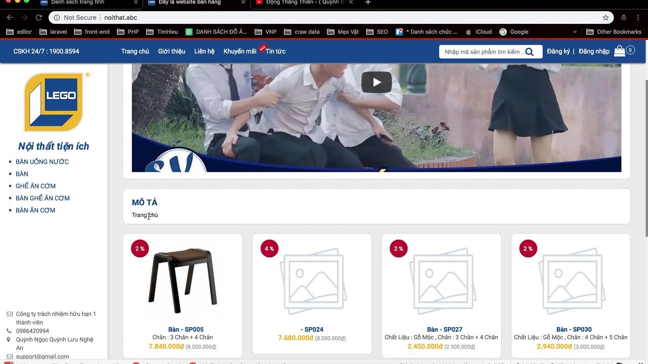 [Website nội thất] - Laravel - php - Xây dựng website bán hàng - Đăng video hiển thị trang chủ