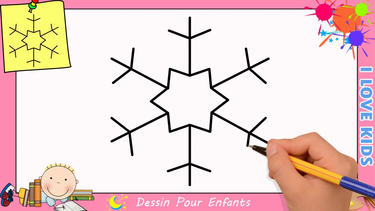 dessin flocon de neige facile comment dessiner un flocon de neige facilement youtube. Black Bedroom Furniture Sets. Home Design Ideas