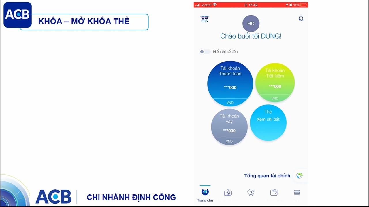 Hướng dẫn kích hoạt thẻ, khóa thẻ online - ACB CN ĐỊNH CÔNG