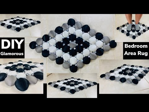 Dollar Tree & Walmart DIY || Glamorous No! Sewing! Bedroom Puffy Fabric Rug || Home Decor || 2020