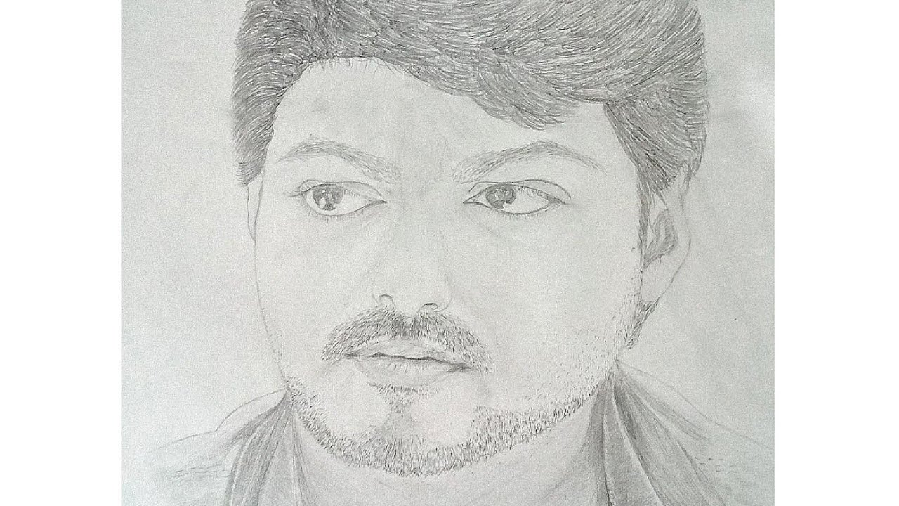 Joseph Vijay Tamil Actor Pencil Sketch Youtube
