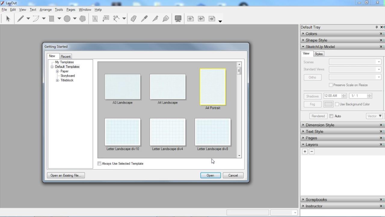 Memilih Kertas yang tidak ada di template google layout (sketchup ...