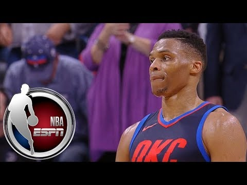 Russell Westbrook stares down Joel Embiid as time expires | ESPN