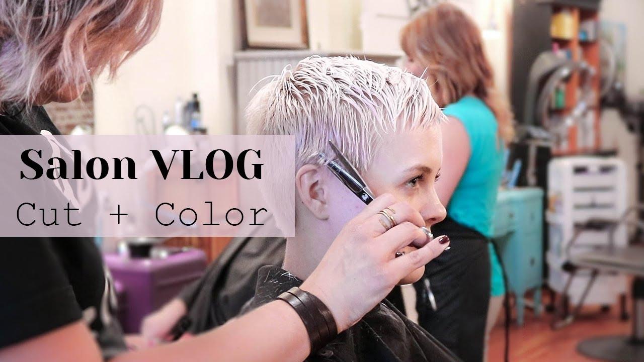 Salon Vlog Platinum Pixie Cut Color Youtube