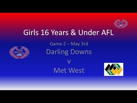Under 16's Girls AFL - Darling Downs v Met West