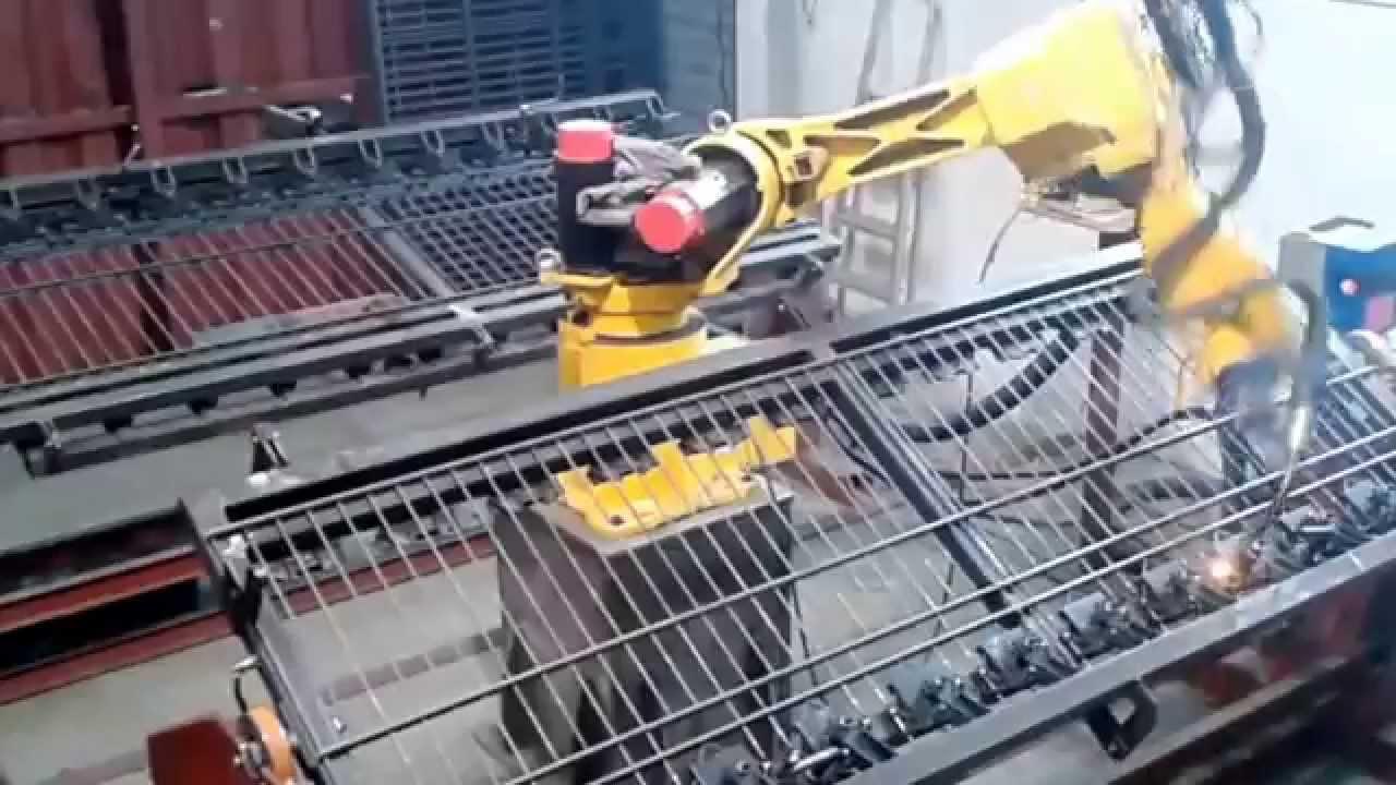 Iron Fence Panels >> Welding Fence FANUC M16i - YouTube