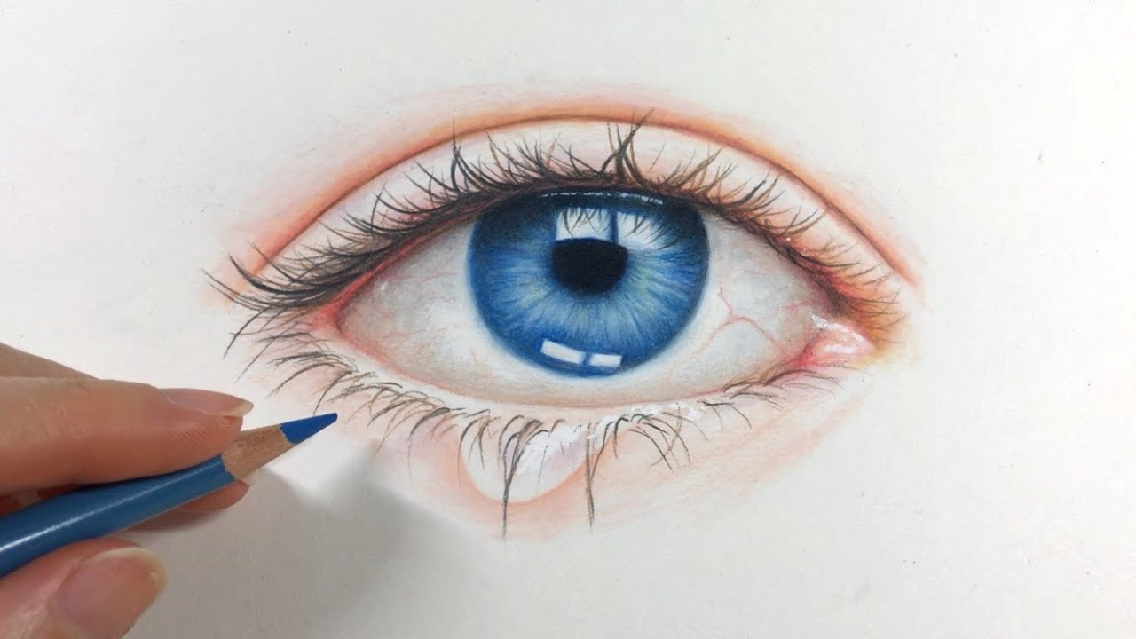 Drawing An Eye Step By Step Using Colored Pencils Youtube