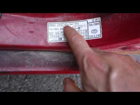 How to read Honda Civic tire and wheel pressure info label. Years 1990 - 2010