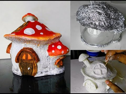 Diy Fairy Mushroom house making at home by paper clay video tutorial