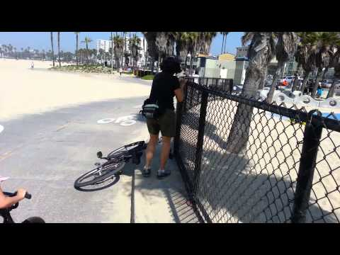 Mom crashing on bicycle in Santa Monica