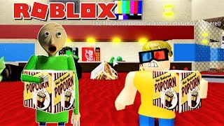 BALDI ESCAPES ZOMBIE INFESTED MOVIE THEATER !! | Weird Side of Roblox: Movie Theater Obby