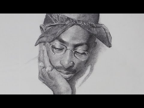 Tupac Shakur Portrait Drawing in Charcoal