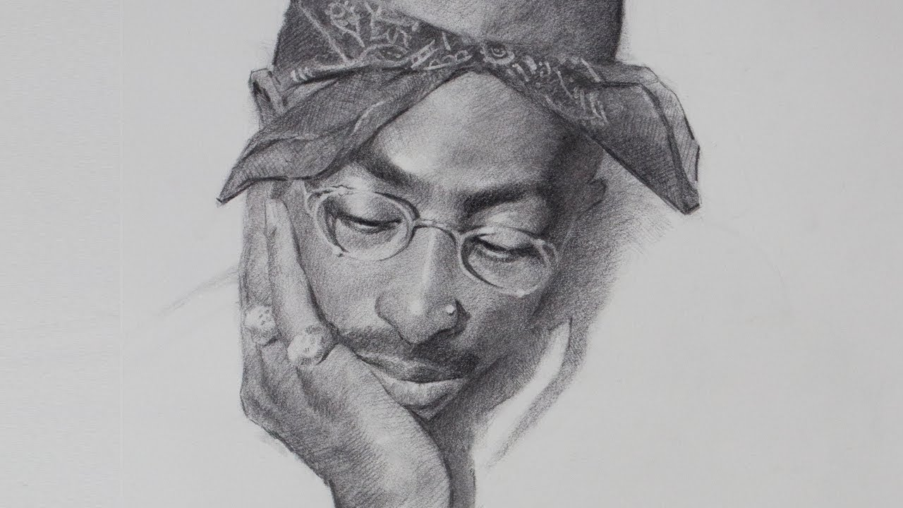 Wake and draw 28 tupac shakur in charcoal