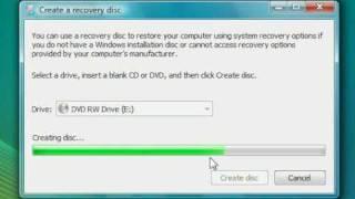 Vista SP1: Create a recovery disc