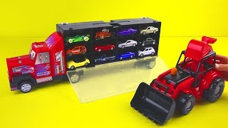 Toy Cars Race And Excavator Play (CREATIVE VIDEO FOR KIDS)