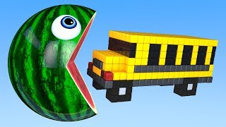 Learn Colors with PACMAN and Farm School Bus WaterMelon Magic Street Vehicle for Kid