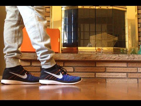 Nike Flyknit Lunar 3 Black/White-Persian Violet-Hot Lava On Feet