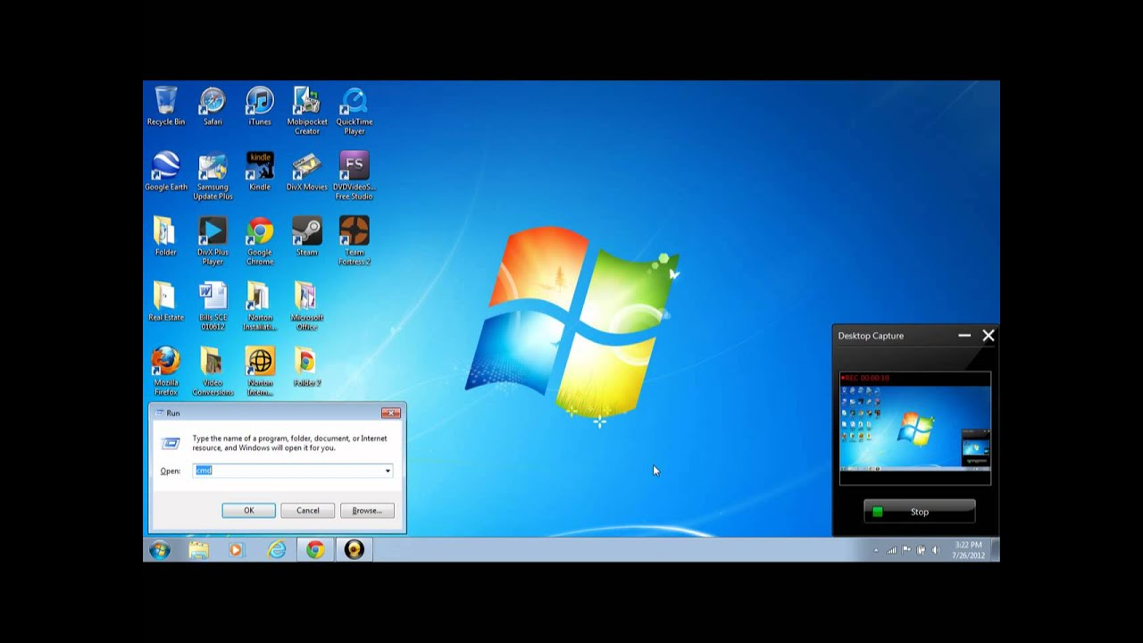 how to open run windows 7