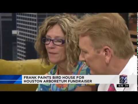 April Murphy Artsy Birdhouse with KPRC's Frank Billingsley