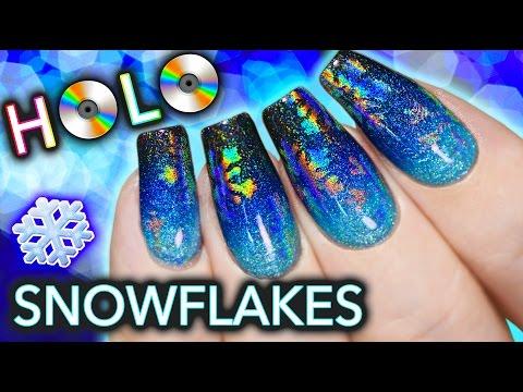 Hidden HOLO Snowflake Nail Art