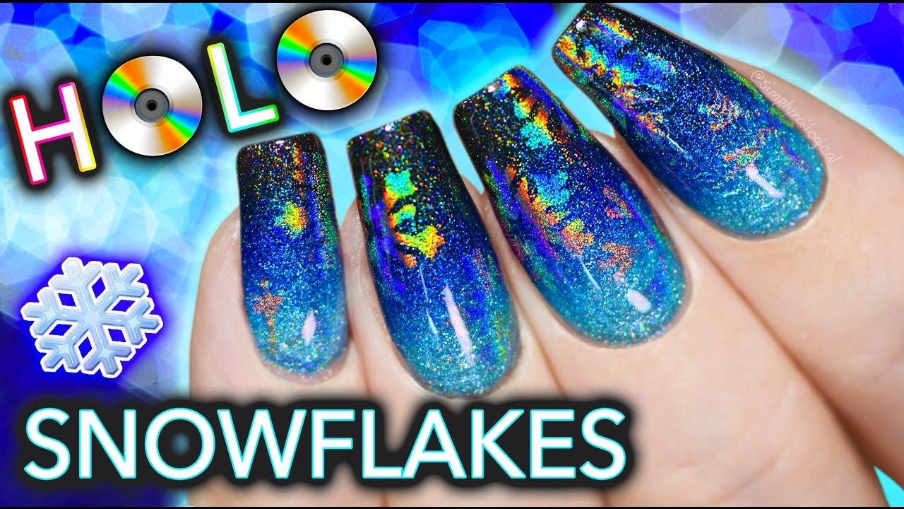 Hidden HOLO Snowflake Nail Art - YouTube